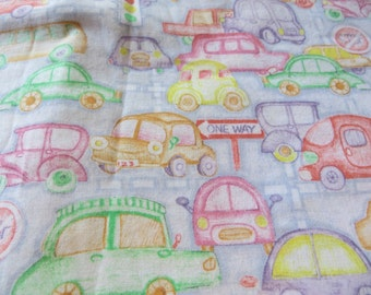 One Yard Cute Cotton Fabric with Cars in Pastel Colors