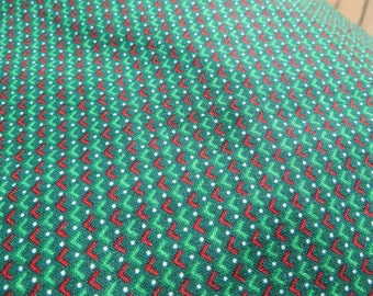 Green and Red Cotton Fabric One yard