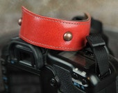 NEW Leather Wrist Strap - Orange Italian Leather DSLR Wrist Strap Camera Cuff