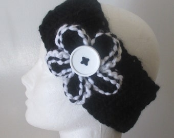 Knit headband - knit earwarmer - hand knit headband - black knit headband - hand knit flower - headband - earwarmer - black headband - knit