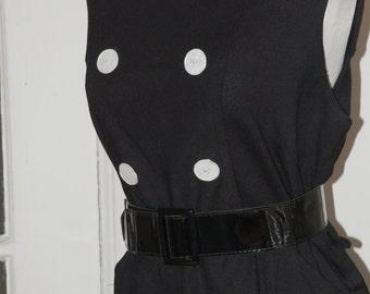 50s 60s Dress, Linen, Wiggle, Hourglass, Shell Buttons, Size L/XL,