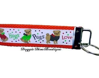 Pug Key Fob, Keychain, Wristlet, Red