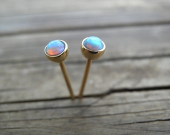 Statement Earrings, Opal Gold Stud Earrings, Classic 3mm 14k Gold Studs with Opals, 14k Gold Opal Posts, October Birthstone, Bridal Jewelry