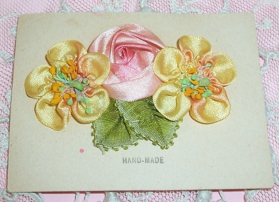 ANTIQUE Silk RIBBONWORK Roses Embellishment, Applique on Card