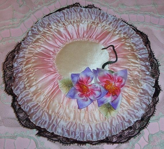 ANTIQUE Silk RIBBONWORK Flowers Boudoir Pin Cushion