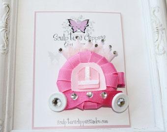 Sculpture Clippies' Princess Tiara Carriage Ribbon Sculpture Hair Bow. Princess Carriage Ribbon Clip.  Free Ship Promo