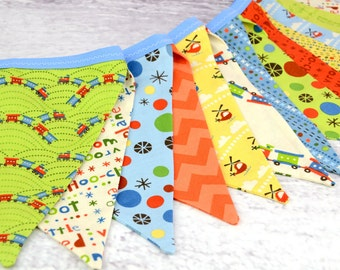 READY to SHIP! Reusable Fabric Bunting, Banner, Pennant, Flag, Photo Prop, Decoration, Boy, Scoot, Train, Plane, Helicopters