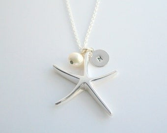 Large, sterling silver starfish, initial charm, necklace - LARGE STARFISH & Initial