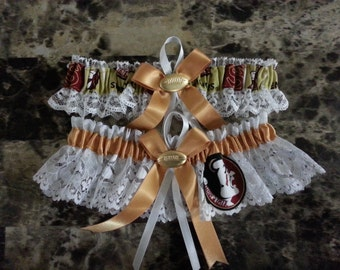 Wedding Garters Florida State Seminoles fabric garter any size, color or style.