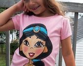Disney Jasmine hand painted shirt 12-18 24 2 3 4 5 6 7 8 9 10 boutique pageant custom