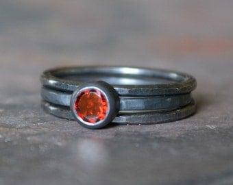 Garnet Solitare Engagement Wedding Ring Stack Set Sterling Silver Darkened Oxidized