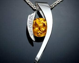 citrine necklace, citrine statement necklace, November birthstone, silver pendant, white sapphires, yellow gemstone, gemstone jewelry -3374