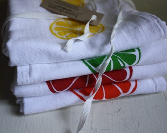 Fruit Slices screen printed kitchen towel set of four any combination