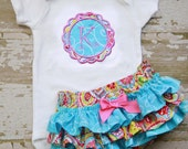 Blue Swirl Ruffle Bottom Bloomers and Personalized Matching Onesie