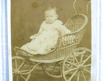 French Antique Photo CDV - Baby in a Wicker Pushchair (C. Brion, Marseille, France)
