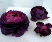 Wedding hair accessories Plum purple ranunculus bobby pins set of 3 Bridal hair flowers
