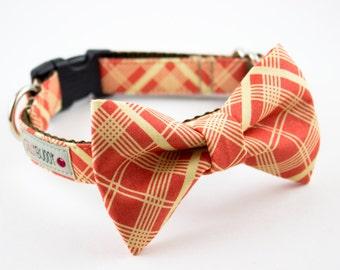 Orange Vintage Plaid Bowtie Dog Collar