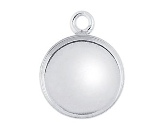Sterling Silver Round  Bezel  Component, Mounting, Pendant