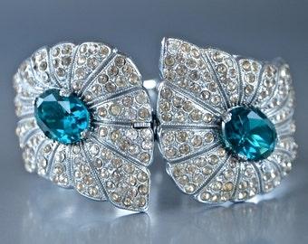 Art Deco Emerald Clamper Bracelet Sparkling 1920's Czech Pave Rhinestones Rhodium Large