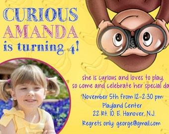 Curious George invitation, curious george birthday invite, curious george birthday invitation, monkey invites, diy print invite