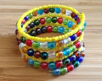 Bright Multi Color Memory Wire Bracelet
