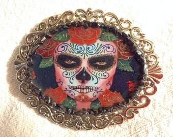 Black and Red Sugar Skull Belt Buckle