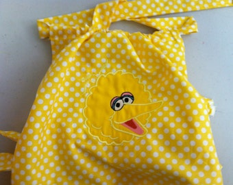 Big Bird Yellow Polka Dot Ruffled Sunsuit- Newborn to 2T