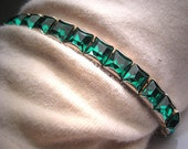 Antique Emerald Paste Bracelet Vintage Art Deco 1920