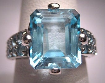Vintage Blue Topaz Ring Estate Art Deco Style Wedding
