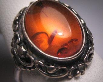 Antique Victorian Amber Ring Vintage Art Nouveau Silver