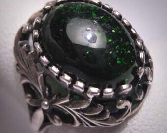 Antique Emerald Ring Vintage Art Nouveau Victorian 1900 Renaissance Revival Wedding