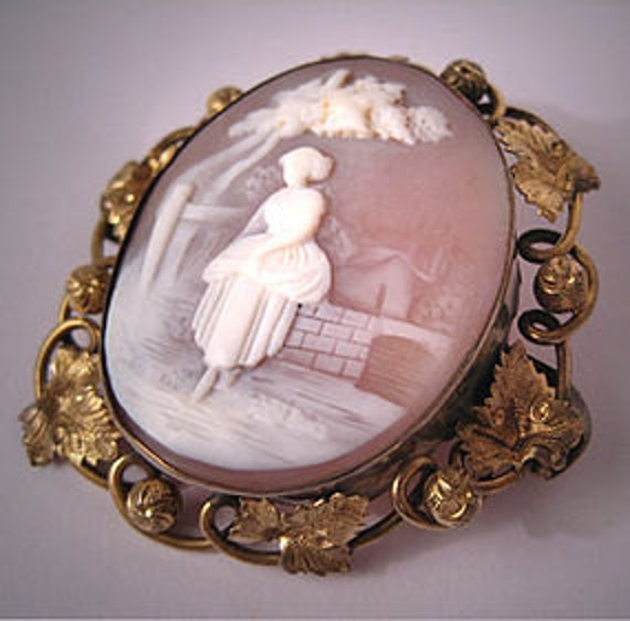 Custom Cameo Resin Pins Diy: Large Antique Cameo Brooch Vintage Victorian Scenic Pin