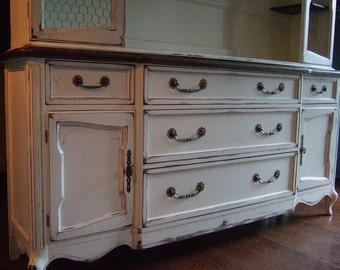 Antiqued White, French Entertainment / TV cabinet