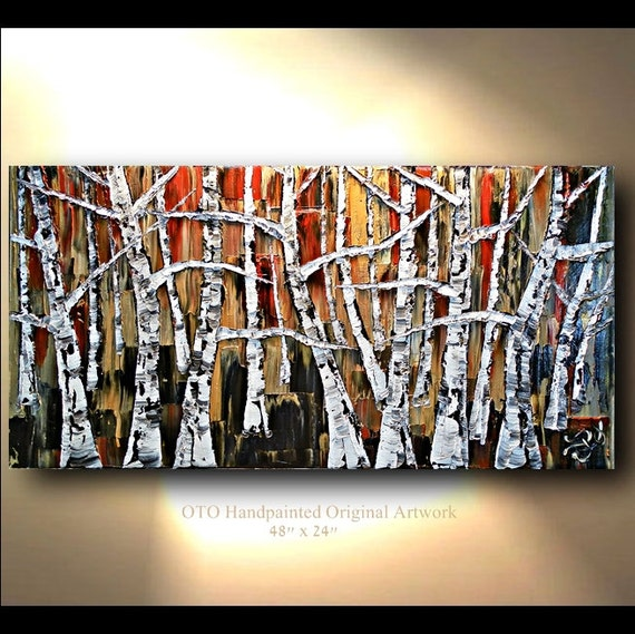 Original Oil Painting 24x48 Red Brown Black White Gold