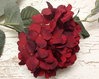 Artificial Flowers - One Hydrangea Spray in Deep Red - Hydrangea on STEM