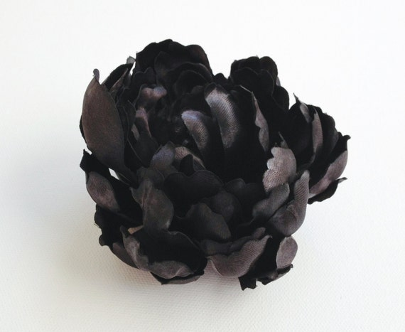 Silk Flowers - One Shiny Black Peony - 4 Inches - Artificial Flowers