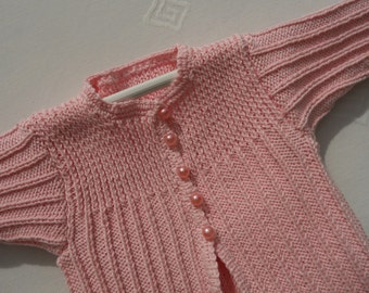 Cardigan/sweater/jacket for a baby girl, very pretty style,hand knitted in pink cotton age 3-9 months