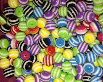 50 Acrylic multi Color Striped Beads
