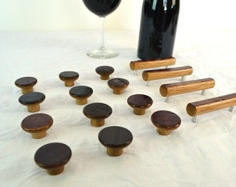 """KNOB - """"Wine barrel"""" knob made from retired Napa Wine barrels - 100% Natural and Recycled"""