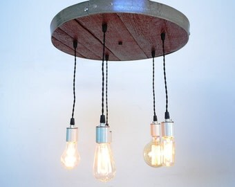 "RADIANCE - ""Corona"" -  Wine Barrel Head Adjustable Chandelier - 100% RECYCLED"