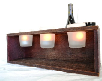 Candle Holders made from retired wine staves V2 - 100% recycled glass and Wine Barrels