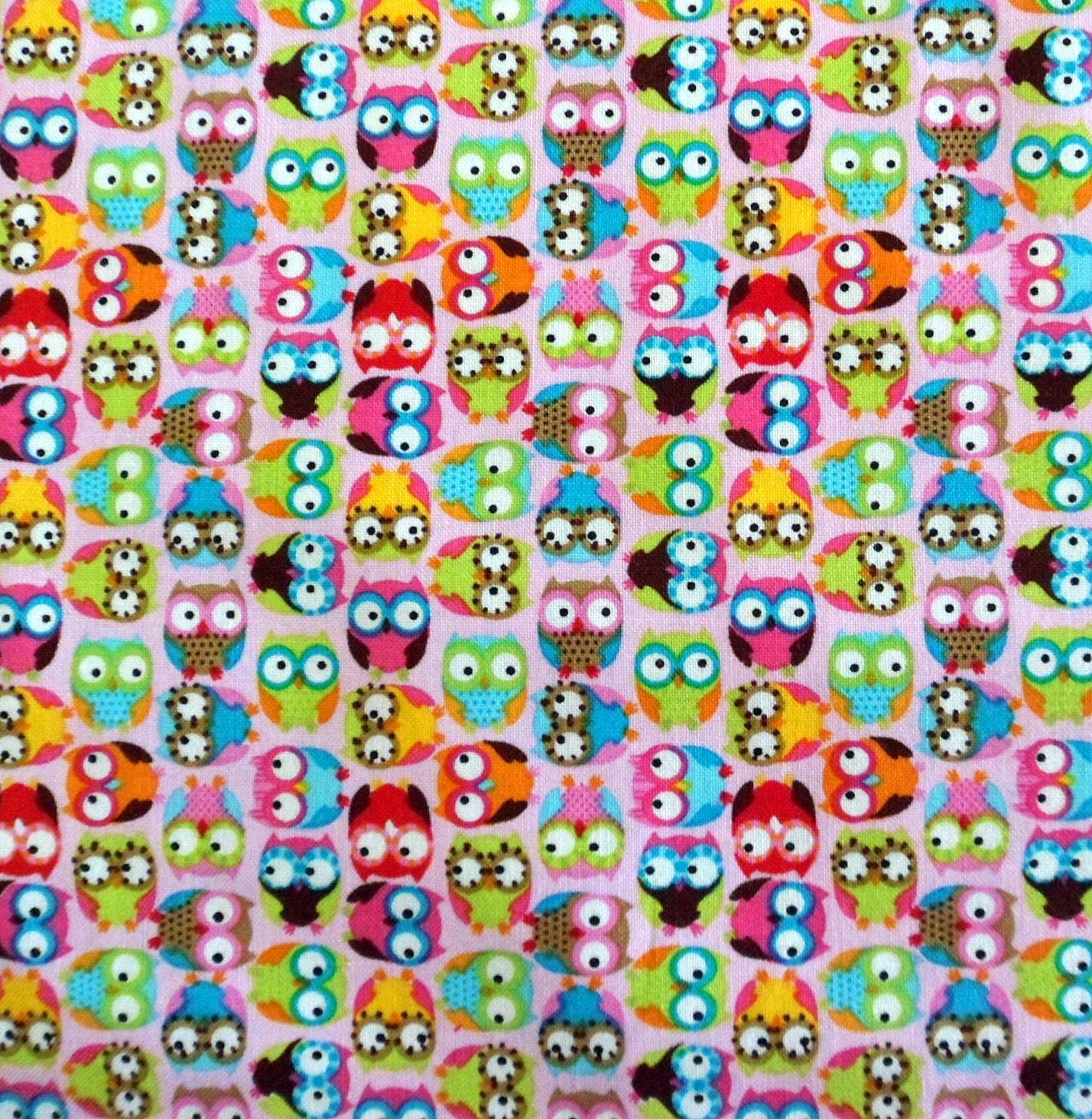 Mini Owl Fabric Pink Fabric with Colorful Owls Cotton Fabric