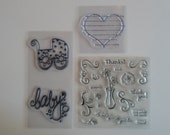 Destash TWENTY Clear Stamps   NEVER USED Scrapbooking  Cardmaking  Baby Carriage Heart Vase Words Friend Thank you