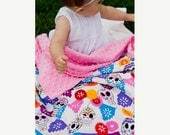 30% OFF Baby Girl Blanket -- Folklorico Puebla Cotton Print with Pink Minky Dot -- MADE TO Order