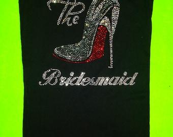 8 stiletto Bridesmaid Shirts . Bridesmaid shirts set of 8 . Rhinestone bridesmaid tank . Maid of honor, matron of honor, mother of the bride