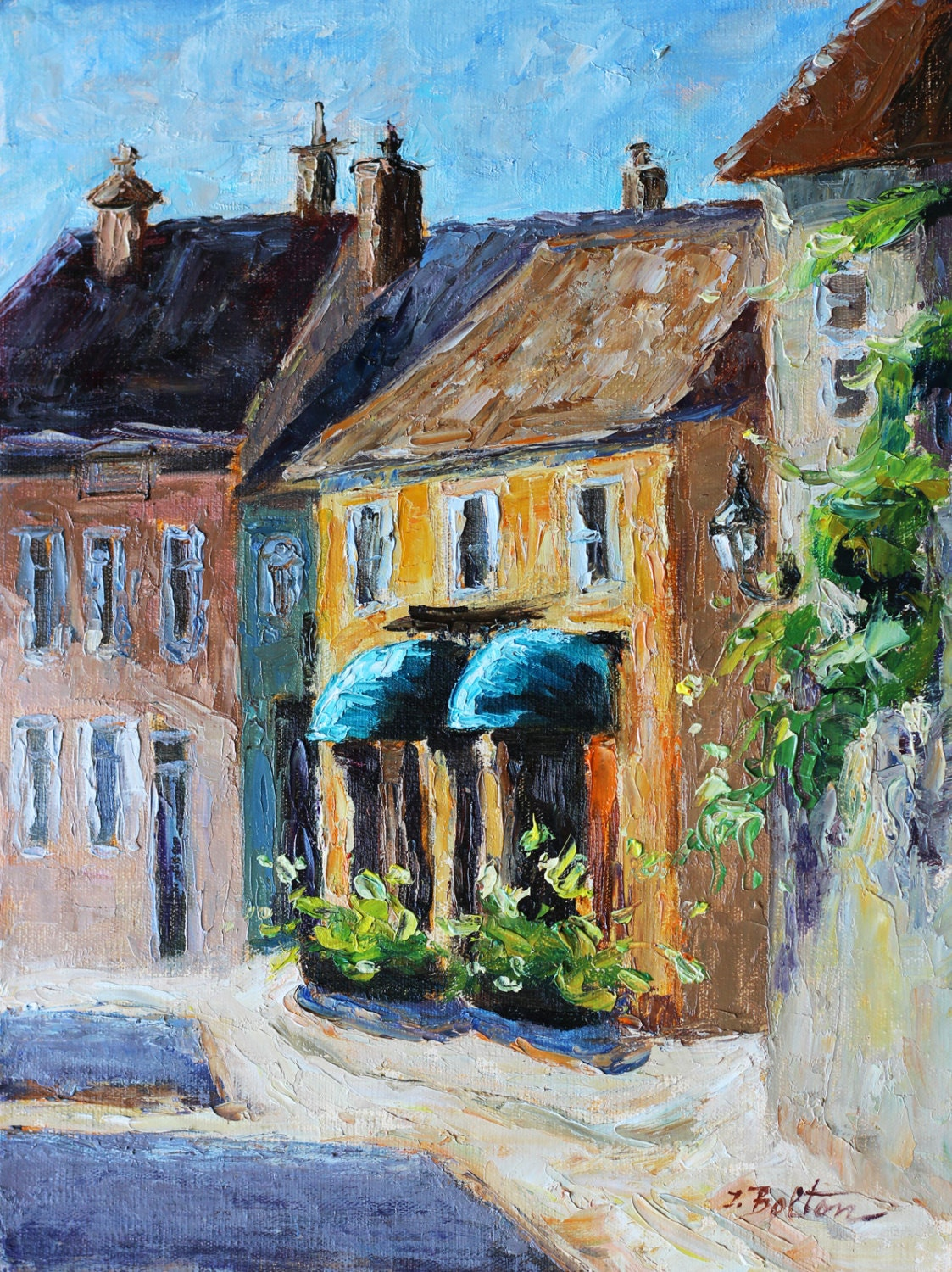 French Town Burgundy Awnings Original Oil Painting French