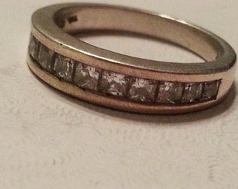 Vintage Sterling Silver and Cubic Zirconia Faceted Clear Stones Band Ring Channel Setting Ring Ladies Size 7