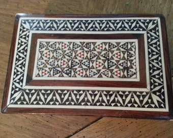 SALE Vintage Wooden Box With Bone and Mother of Pearl Inlay Gift Trinket Box Hand Made Geometric Mosaic Tobacco Box