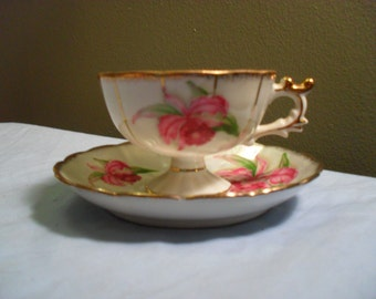 Cherry China Teacup and Saucer