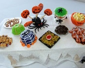 Spooky Miniature Halloween table of party food 12th scale